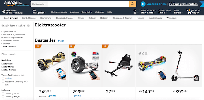 Günstige E-Scooter bei Amazon kaufen