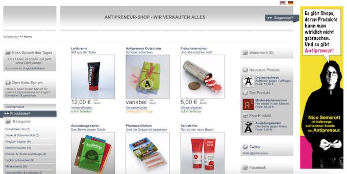 Der Antipreneur Shop verkauft keine echten Artikel