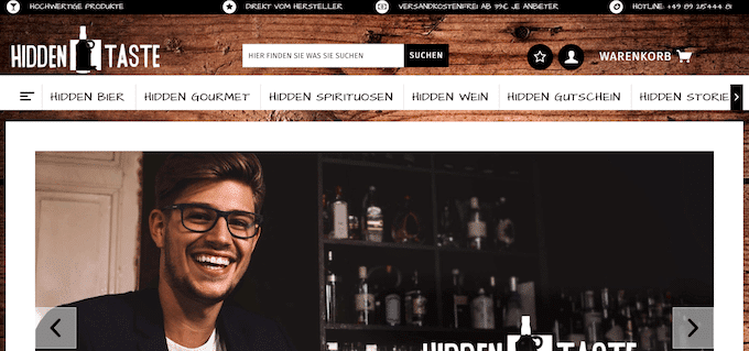 Alkohol online kaufen bei Hiddentaste