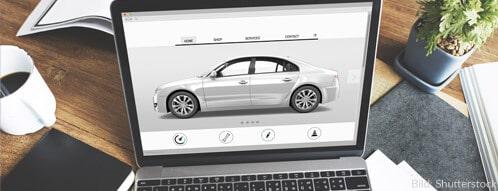Elektro-Autohaus online mit vielen möglichen Optionen für das Mobile