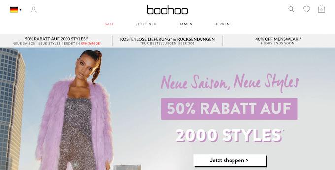 Online Shopping bei Boohoo
