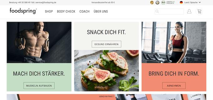 Foodspring ist der Online-Shop für Fitnessnahrung