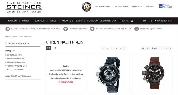 Luxusuhren online kaufen im Onlineshop von steiner-juwelier